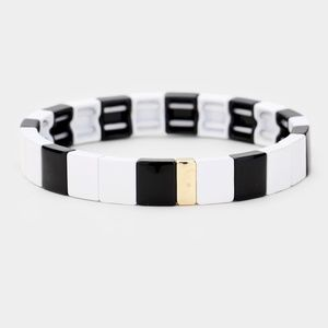 BLACK ENAMEL METAL SQUARE TILE STRETCH BRACELET